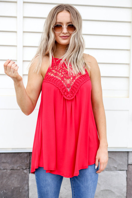 Model wearing Red Crochet Lace Tank Front View