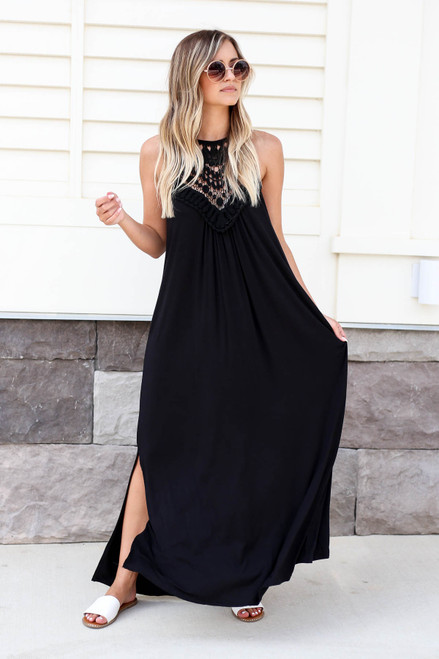 Black - Crochet Neck Maxi Dress
