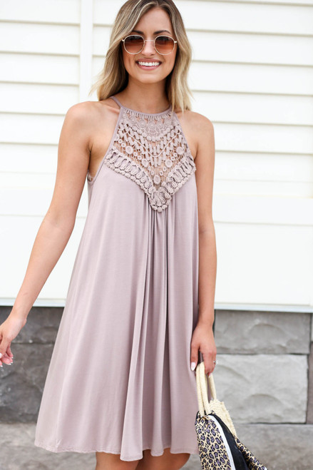 Taupe - Crochet Neck Mini Dress Front View