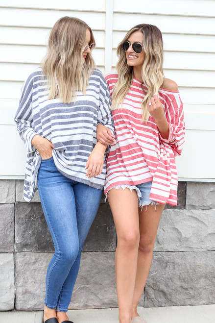 Navy - and Red Oversized Striped Top