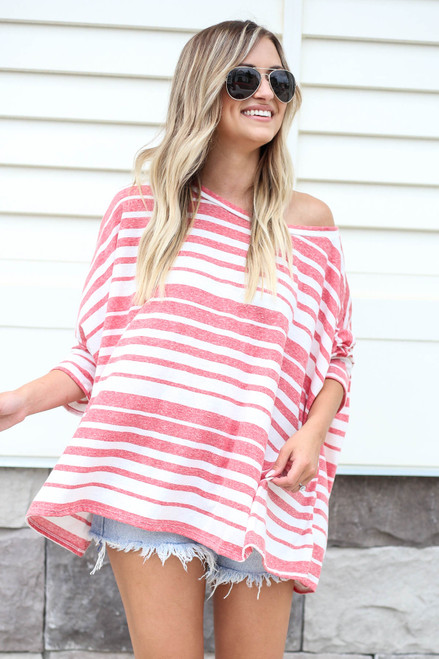 Red - Oversized Striped Top