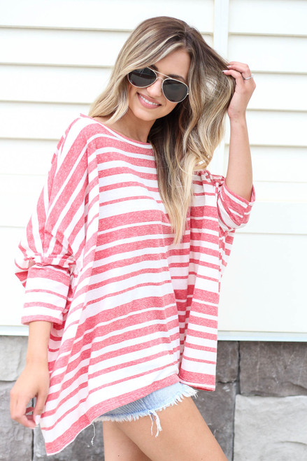 Red - Oversized Striped Top Side View