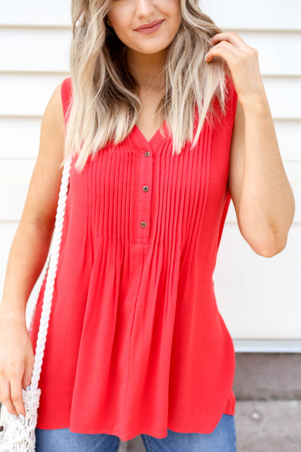 Red - Pleated Front Sleeveless Blouse Detail View