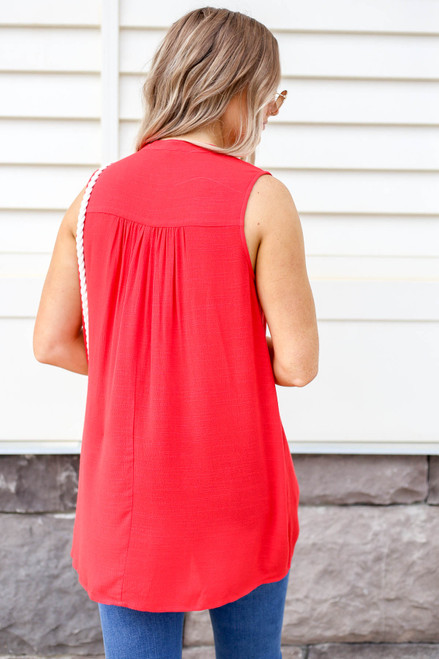 Model wearing Red Pleated Front Sleeveless Blouse Back View