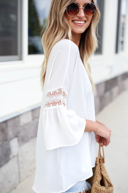 White - Crochet Sleeve Blouse Side View