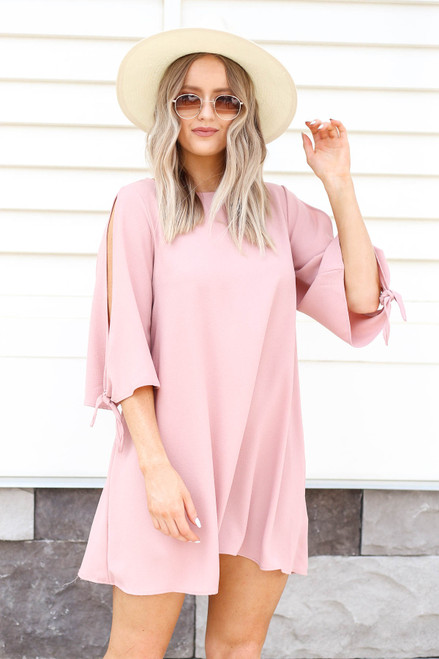 Blush - Tie Sleeve Mini Cocktail Dress