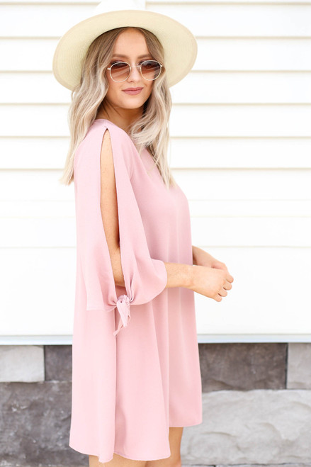 Blush - Tie Sleeve Mini Cocktail Dress Side View