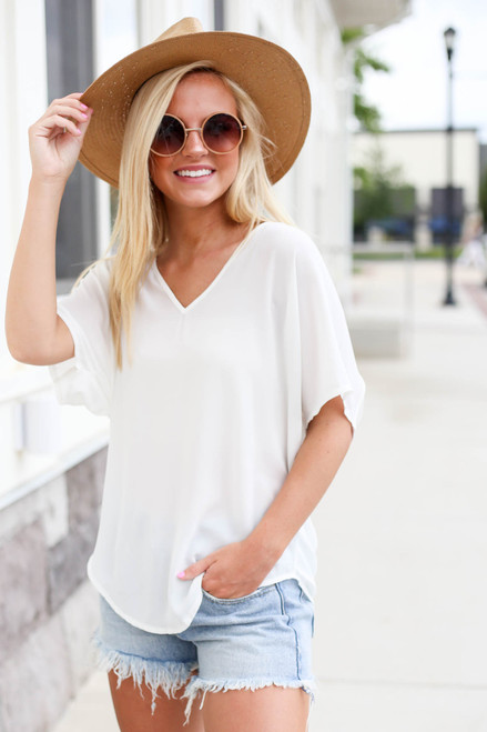 Model wearing White Oversized Chiffon Blouse