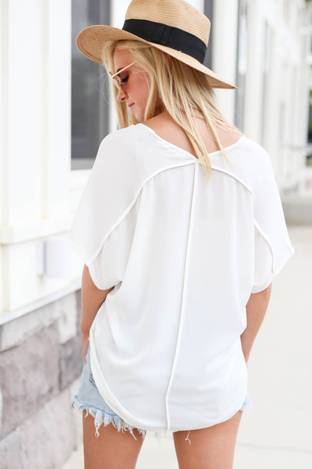 White - Oversized Chiffon Blouse Back View