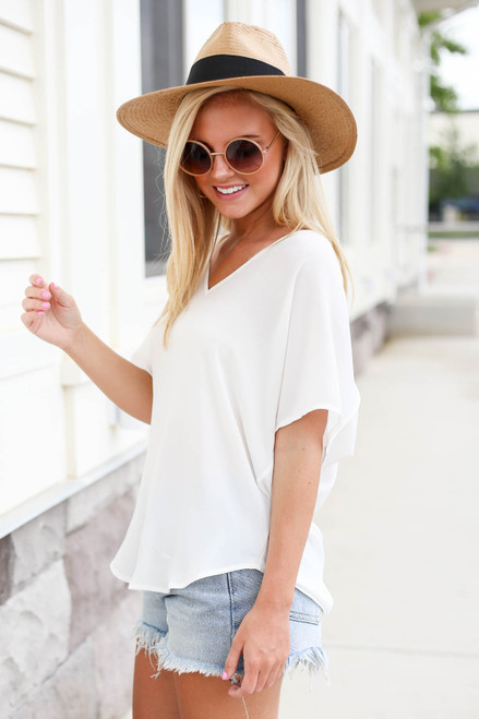 Model wearing White Oversized Chiffon Blouse Side View