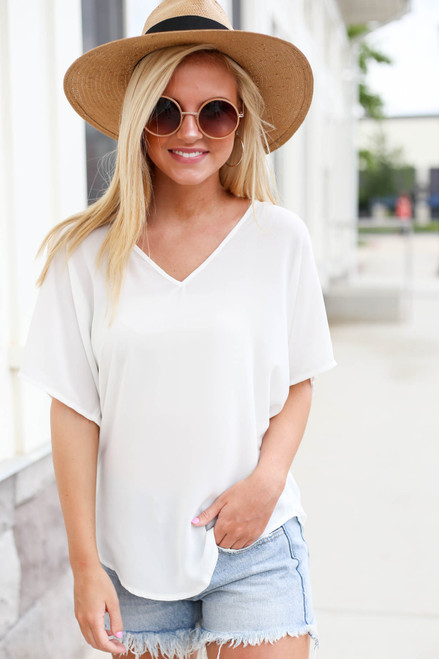 Model wearing White Oversized Chiffon Blouse Front View