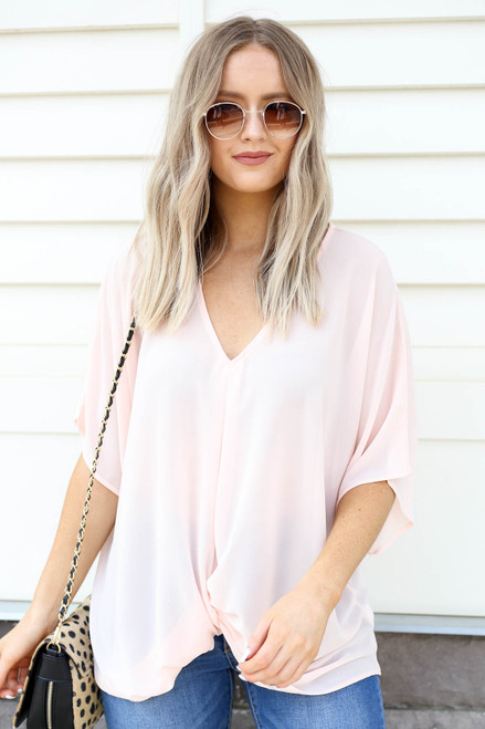 Blush - Twist Front Blouse