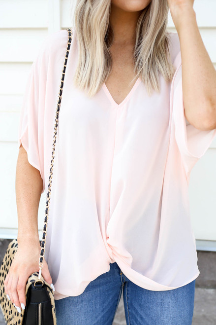 Blush - Twist Front Blouse Detail View