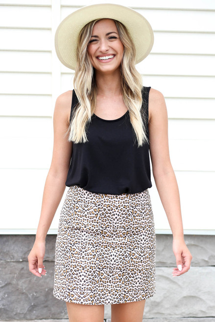Model wearing Pink Leopard Print Mini Skirt