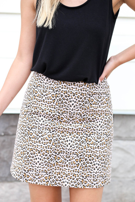 Leopard - Pink Leopard Printed Mini Skirt Detail View