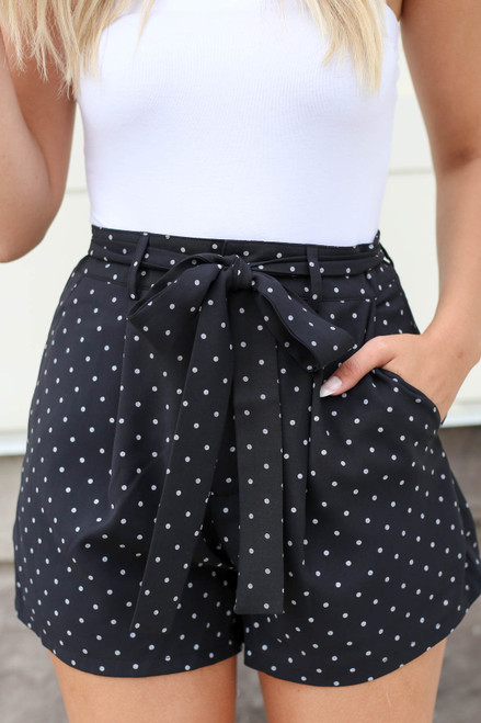 Black - Polka Dot Tie Waist Shorts Detail View
