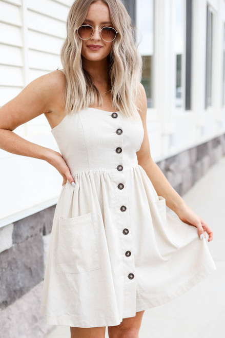 Model wearing Natural Button Front Mini Dress