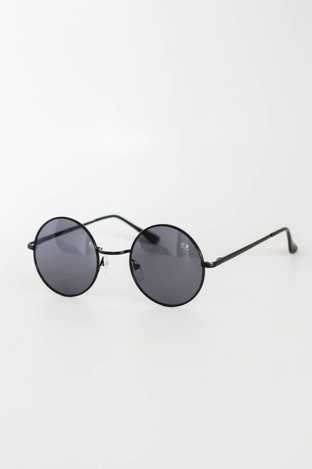 Black - Circle Sunglasses Flat Lay Side View
