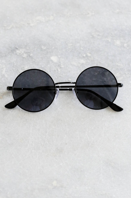 Black - Circle Sunglasses Flat Lay on Marble
