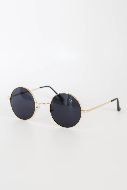 Gold - Circle Sunglasses Side View