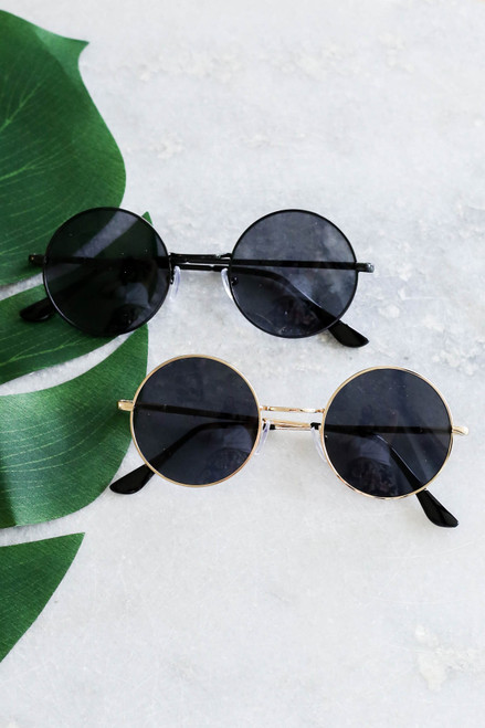 Gold - And Black Circle Sunglasses Flat Lay