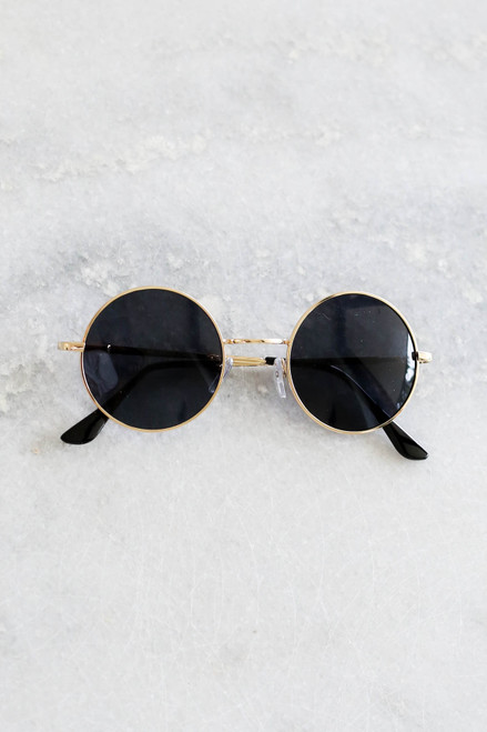 Gold - Circle Sunglasses Flat Lay on Marble