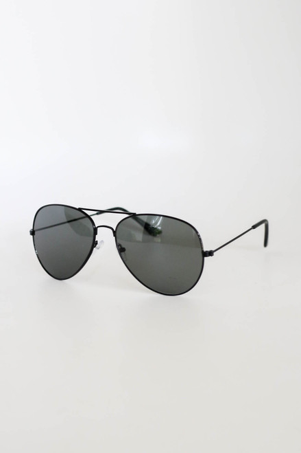 Black - Aviator Sunglasses Flat Lay