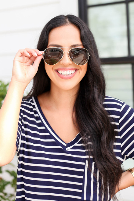 Gold - Aviator Sunglasses Flat Lay