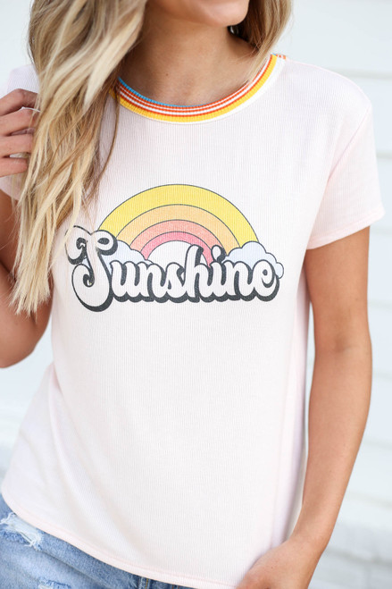 Model is Blush Sunshine Ribbed Ringer Tee Detail View