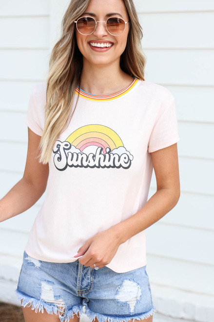 Blush - Sunshine Ribbed Ringer Tee Front View