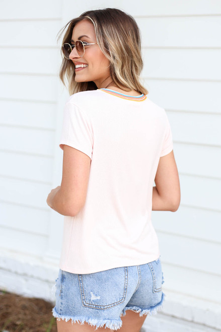 Model is Blush Sunshine Ribbed Ringer Tee Back View