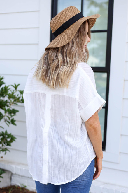 White - Button Back Blouse Back View