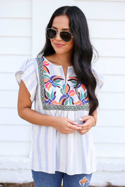 Denim - and White Striped Embroidered Blouse