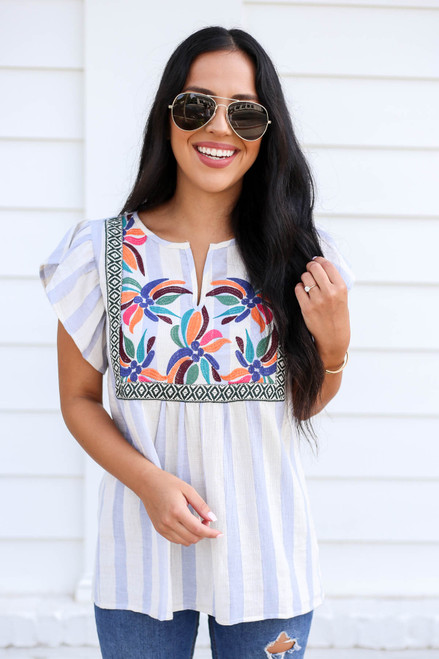 Model wearing Blue and White Striped Embroidered Blouse