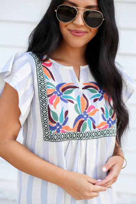 Denim - and White Striped Embroidered Blouse Detail View