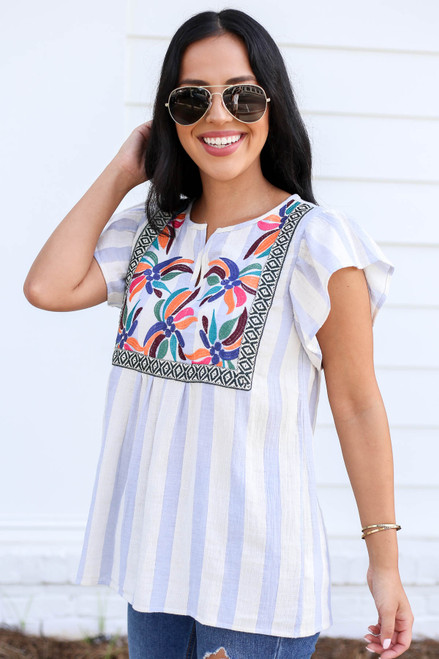 Model wearing Blue and White Striped Embroidered Blouse Front View