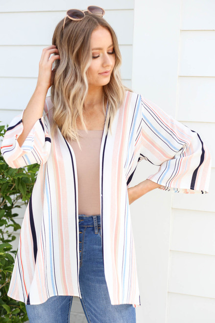 Multi - Striped Wide Sleeve Kimono
