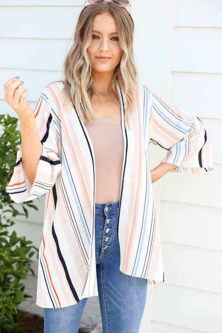 Model wearing Multi-Color Wide Sleeve Kimono Front View