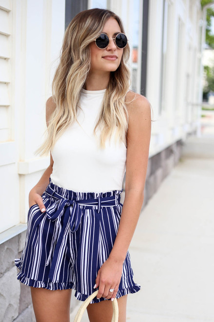 Navy - and White Striped Paperbag Waist Shorts