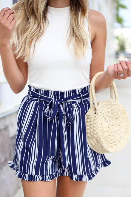 Navy - and White Striped Paperbag Waist Shorts Detail View