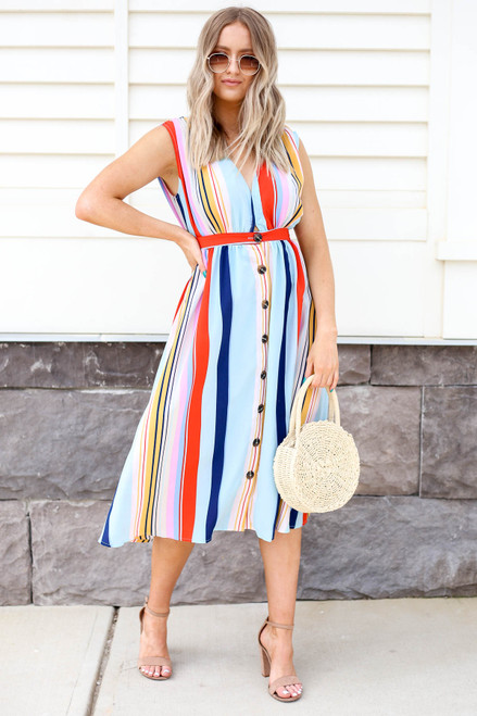 Model looking Multi-Color Striped Button Up Midi Dress Front View