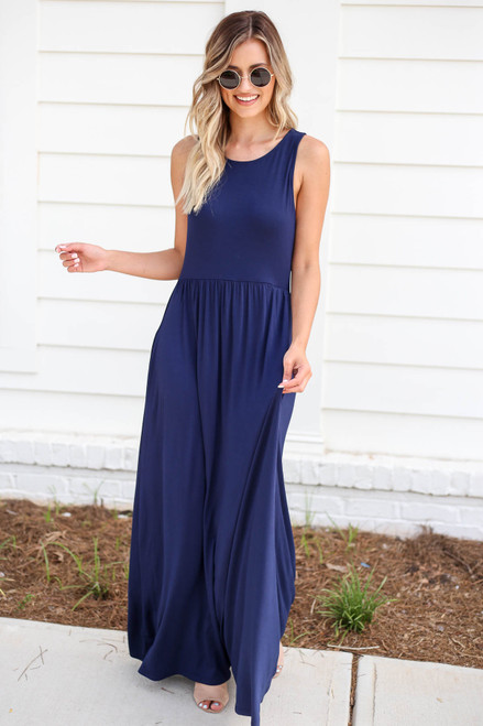 Navy - Sleeveless Babydoll Maxi Dress