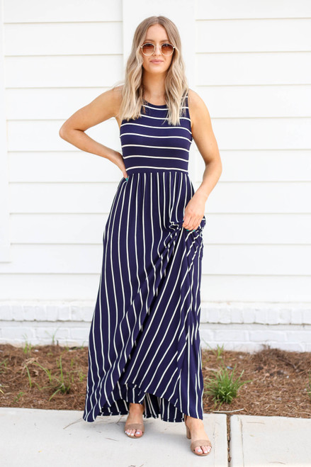 Navy - and White Striped Empire Maxi