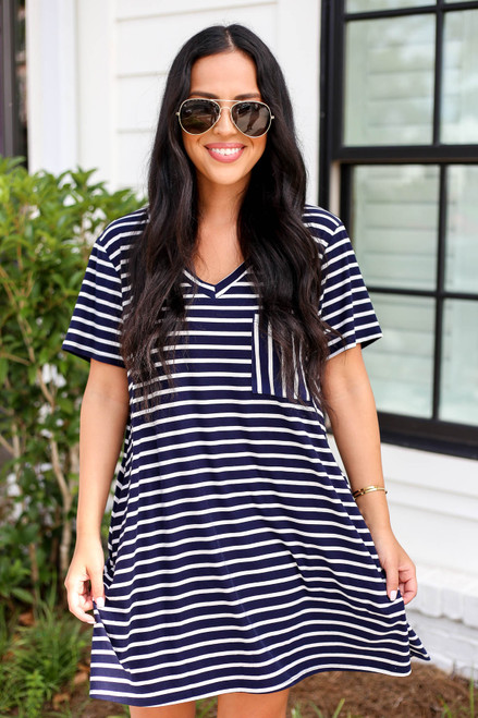 Navy - Striped V-Neck T-Shirt Dress