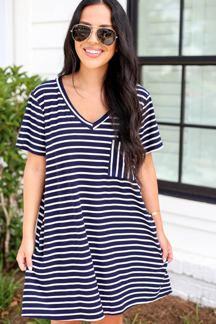 Model wearing Navy Striped V-Neck T-Shirt Dress Front View