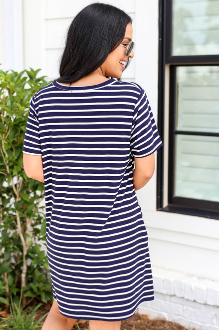 Model wearing Navy Striped V-Neck T-Shirt Dress Back View