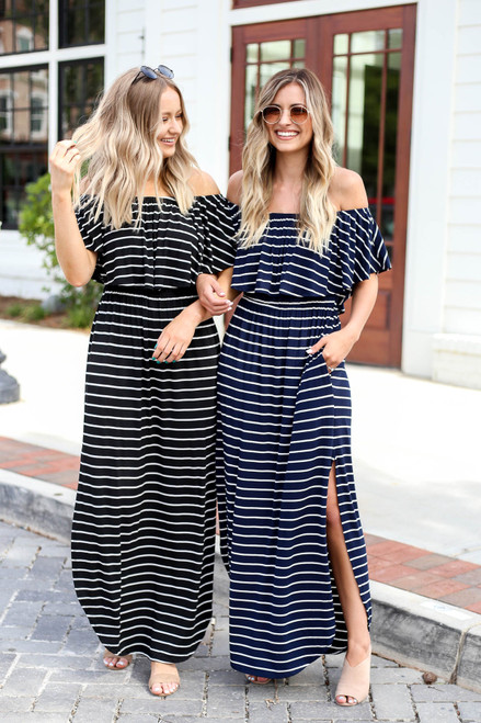 Black - and Navy Striped Off the Shoulder Maxi Dresses