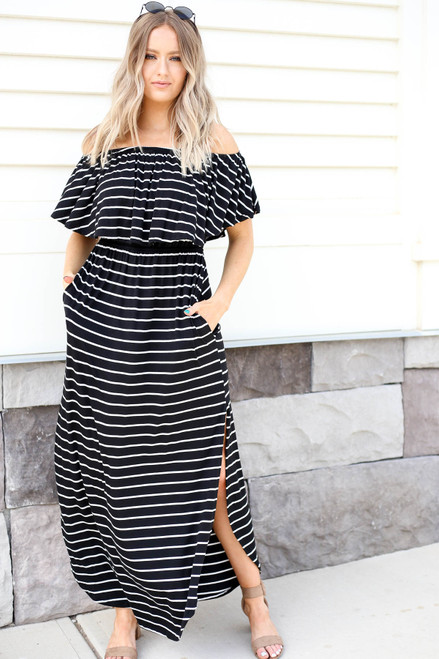 Model wearing Black Striped Off the Shoulder Maxi Dress with Slits Front View