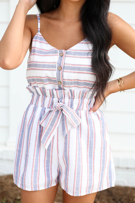 Navy - White and Red Striped Paperbag Waist Romper Detail View