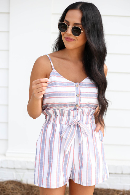 Navy - White and Red Striped Paperbag Waist Romper